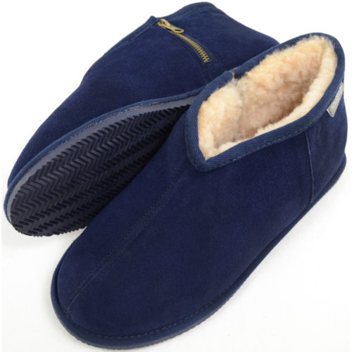 Benji - Sheepskin Zipper Slipper - Navy
