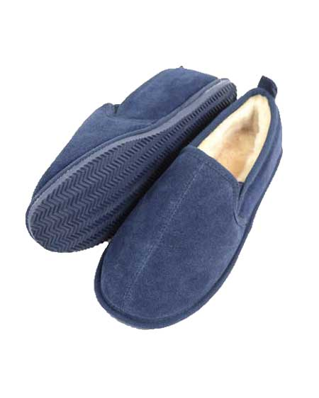 Snugrugs Bertie Navy Mens Sheepskin Slippers
