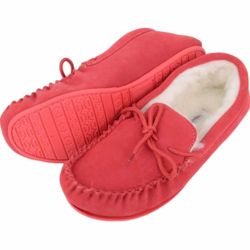 Snugrugs - Wool Lined Moccasin with Rubber Sole - Crimson