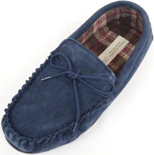 Snugrugs Mens Suede cotton rubber sole moccasin slipper