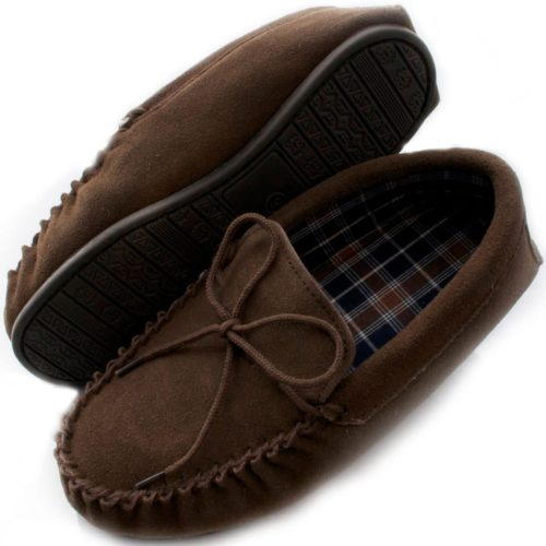 Snugrugs moccasin cotton lined slipper taupe with rubber sole