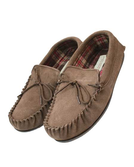 Snugrugs moccasin cotton lined slipper taupe