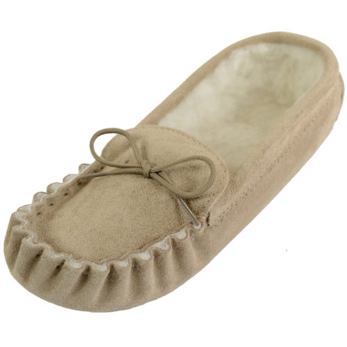 Snugrugs - Wool Lined Suede Sole Moccasins - Beige