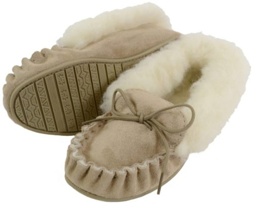 Wool Lined Suede Moccasin with Hard Sole - Beige