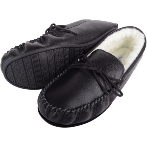 Henry - Wool Lined Leather Moccasins - Black
