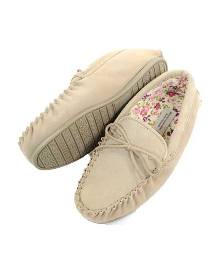 Snugrugs Ladies Wool Moccasin Cotton lined Camel
