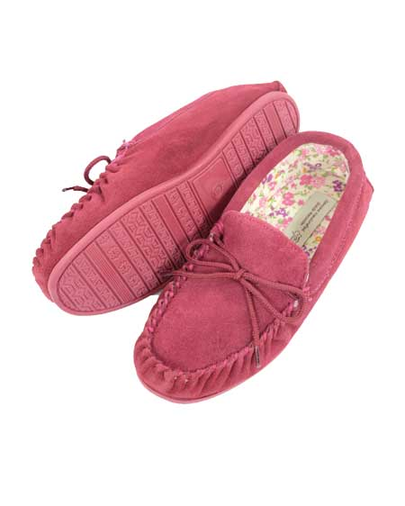Snugrugs Ladies Wool Moccasin Cotton lined CrimsonSnugrugs Ladies Wool Moccasin Cotton lined Crimson