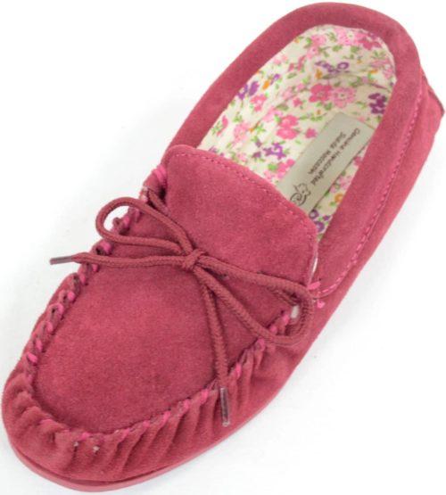 Snugrugs Ladies Wool Moccasin Cotton lined Crimson