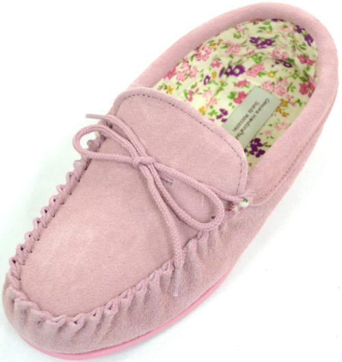 Snugrugs Ladies Wool Moccasin Cotton lined Pink