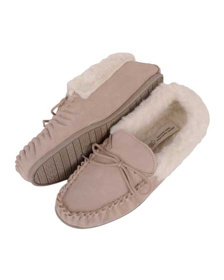 Ladies Wool Moccasin slipper with sole Camel