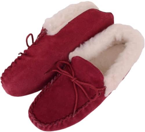 Snugrugs Ladies Moccasin Slippers Crimson Suede sole LWM1Crimson