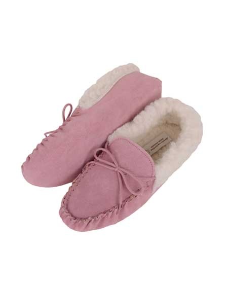 Snugrugs Ladies Pink Wool Cuff Moccasins with Suede sole