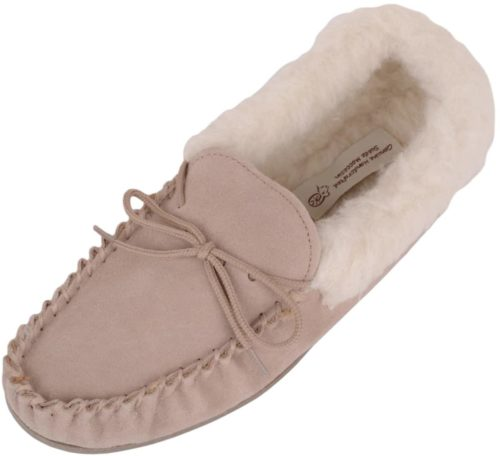 Snugrugs Ladies Moccasin Wool Cuff Suede Sole Camel