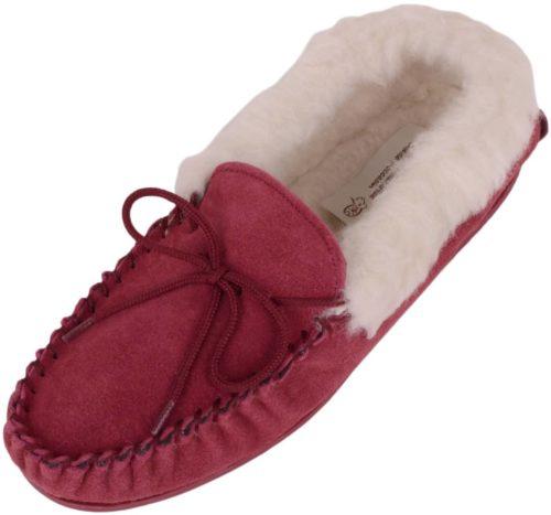 Snugrugs ladies wool moccasin rubber sole wool cuff