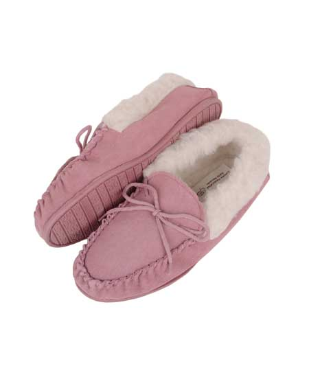 Snugrugs ladies wool moccasin rubber sole wool cuff