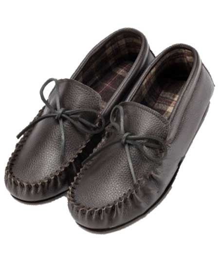 Mens leather fleece moccasin slippers