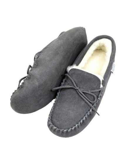 Snugrugs Mens Moccasin Grey soft sole