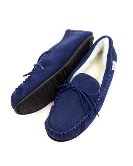 Snugrugs Mens Navy moccasin slipper rubber sole