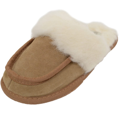 Snugrugs - Ladies Wool Lined Suede Mule - Chestnut