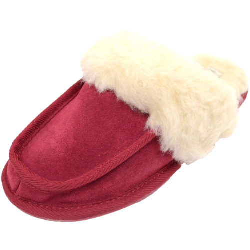 Snugrugs - Ladies Wool Lined Suede Mule - Crimson