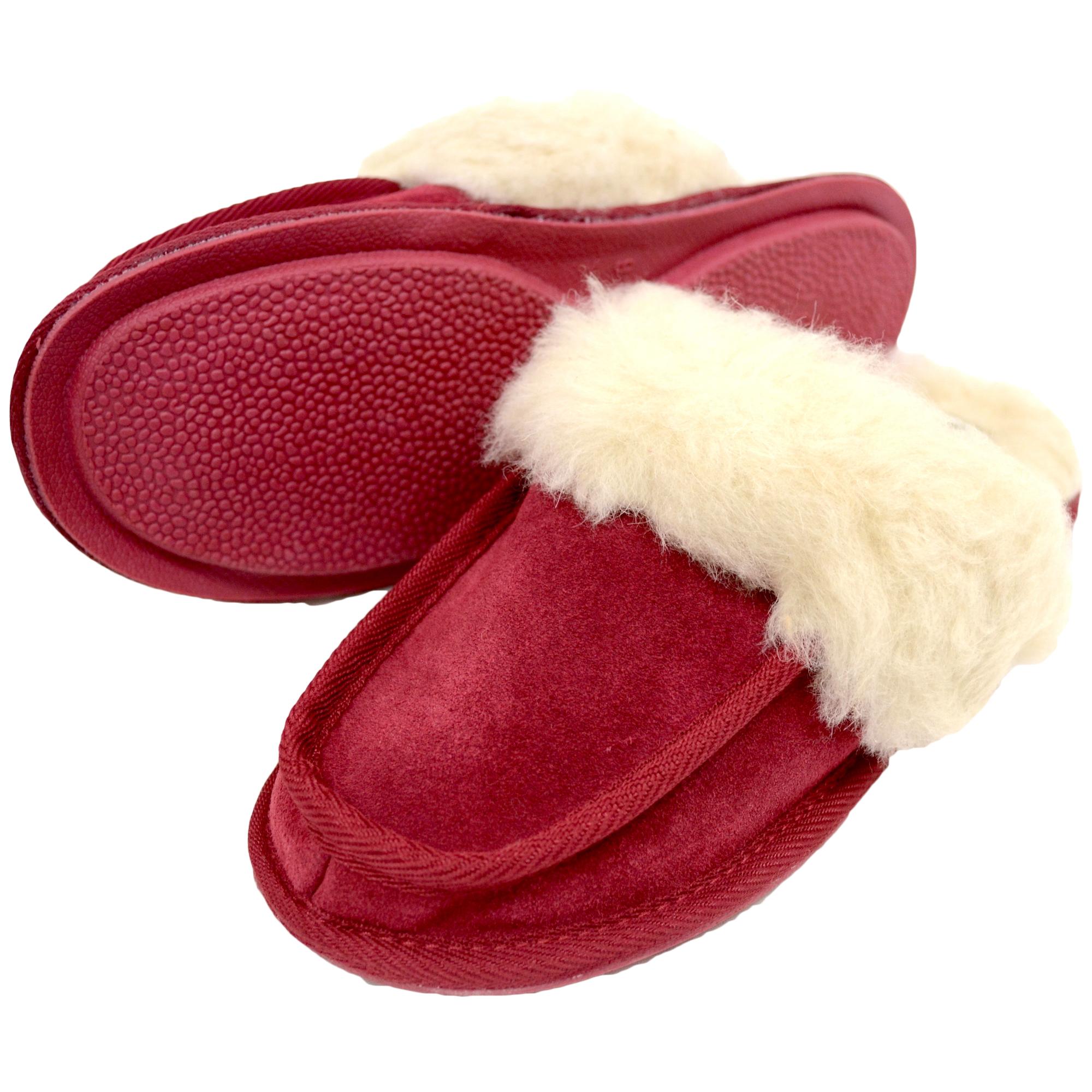 Snugrugs - Ladies Wool Lined Suede Mule - Crimson