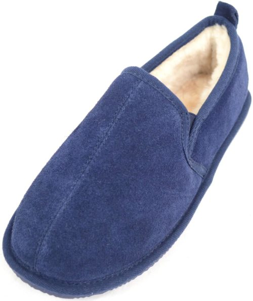 Bertie Mens Sheepskin Slippers Navy