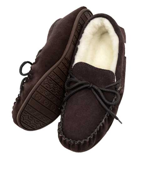 Snugrugs dark brown moccasin slippers with rubber sole