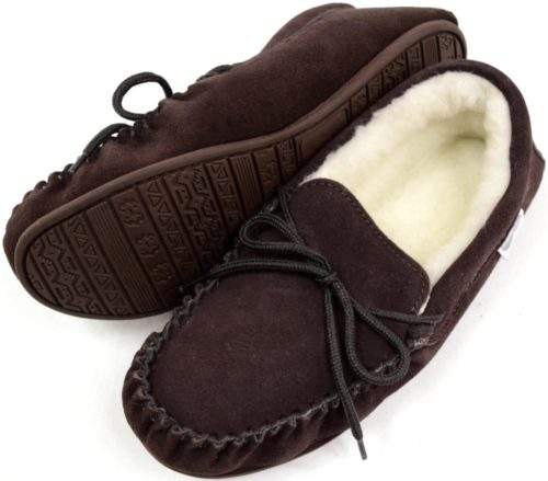 Snugrugs Mens Moccasin Slipper Dark Brown Rubber Sole