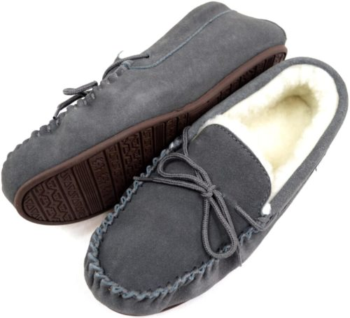 Snugrugs Mens Grey Moccasin Slippers Rubber sole