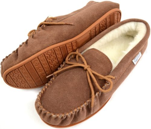 Snugrugs Mens Moccasin Slipper Light Brown Rubber sole