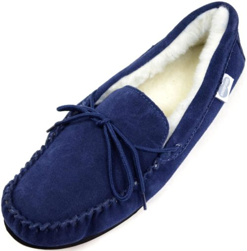 Snugrugs Mens Navy moccasin slipper rubber sole