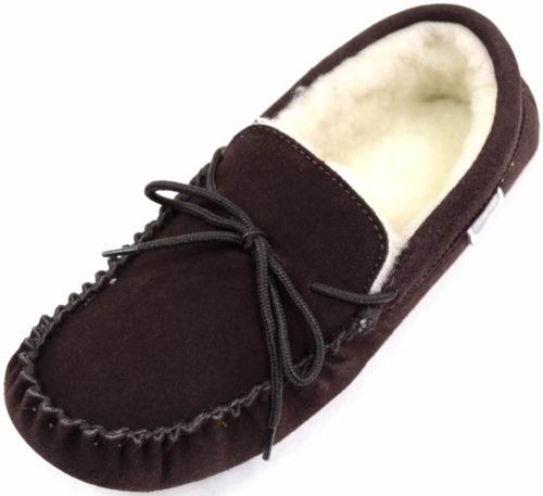 Snugrugs Mens Moccasin Dark Brown Soft Sole