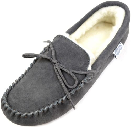 Snugrugs Mens Moccasin Grey soft sole