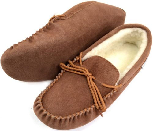 Snugrugs Mens Moccasin Light Brown soft sole