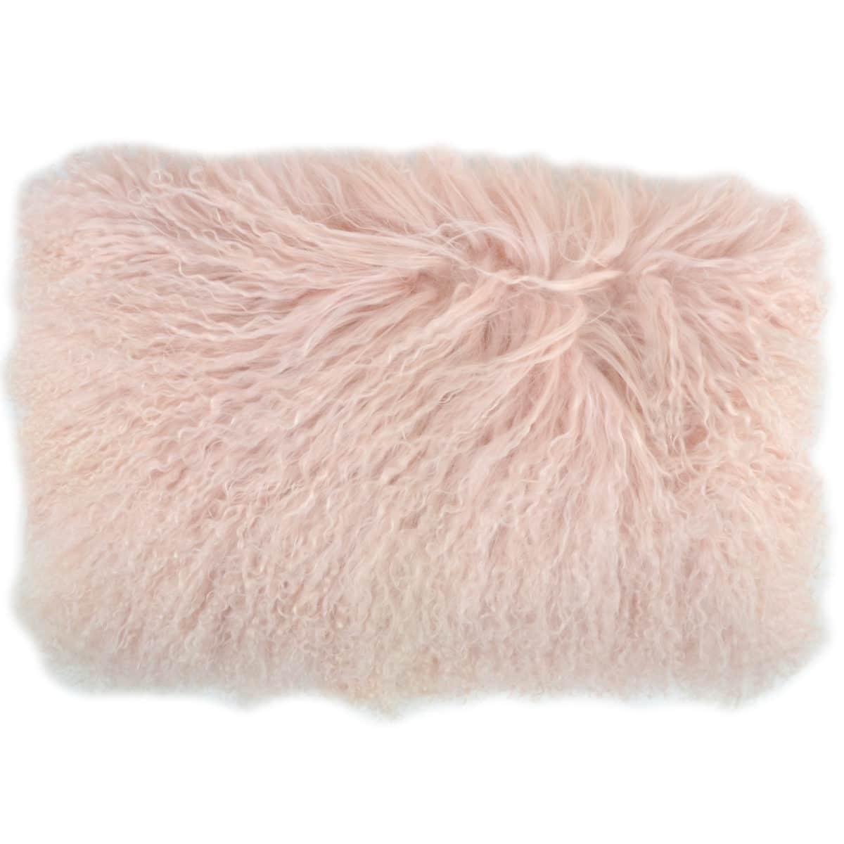 Snugrugs Mongolian Sheepskin Cushion 30cm x 50cm – Light Pink