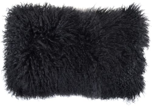 Snugrugs Mongolian Sheepskin Cushion 30cm x 50cm - Black