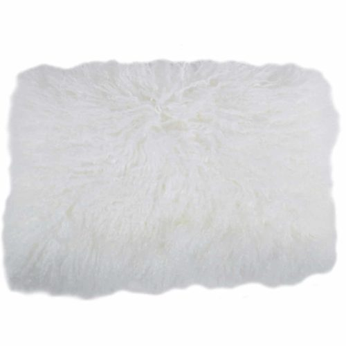 Snugrugs Mongolian Sheepskin Cushion 30cm x 50cm - White