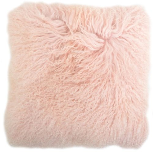 Snugrugs Mongolian Sheepskin Cushion 40cm x 40cm – Pink