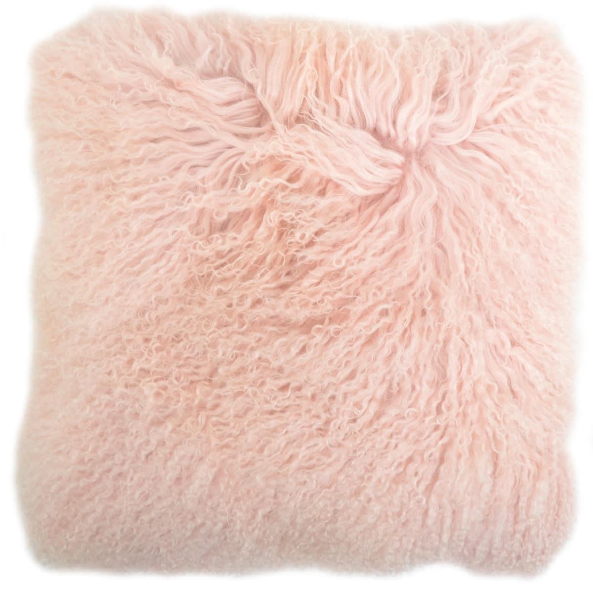 Snugrugs Mongolian Sheepskin Cushion 40cm x 40cm – Pink