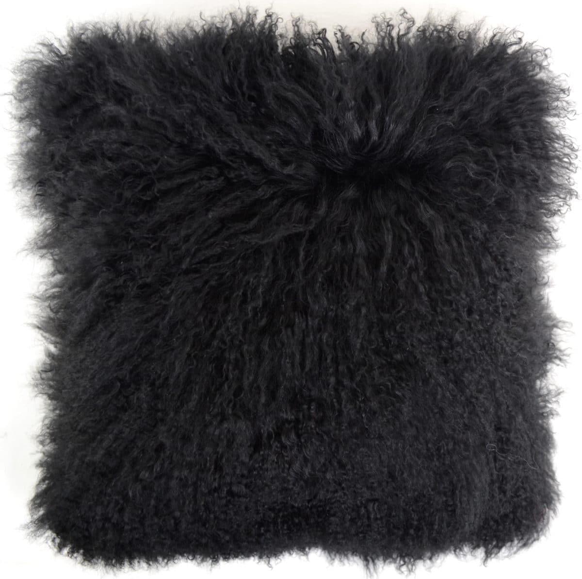 Snugrugs Mongolian Sheepskin Cushion 60cm x 60cm – Black
