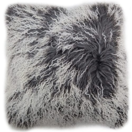 Snugrugs Mongolian Sheepskin Cushion 40cm x 40cm – Grey/White