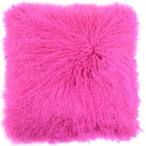 Snugrugs Mongolian Sheepskin Cushion 40cm x 40cm – Hot Pink
