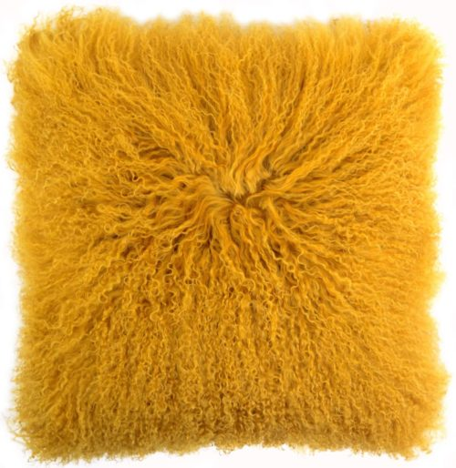 Snugrugs Mongolian Sheepskin Cushion 40cm x 40cm – Mustard