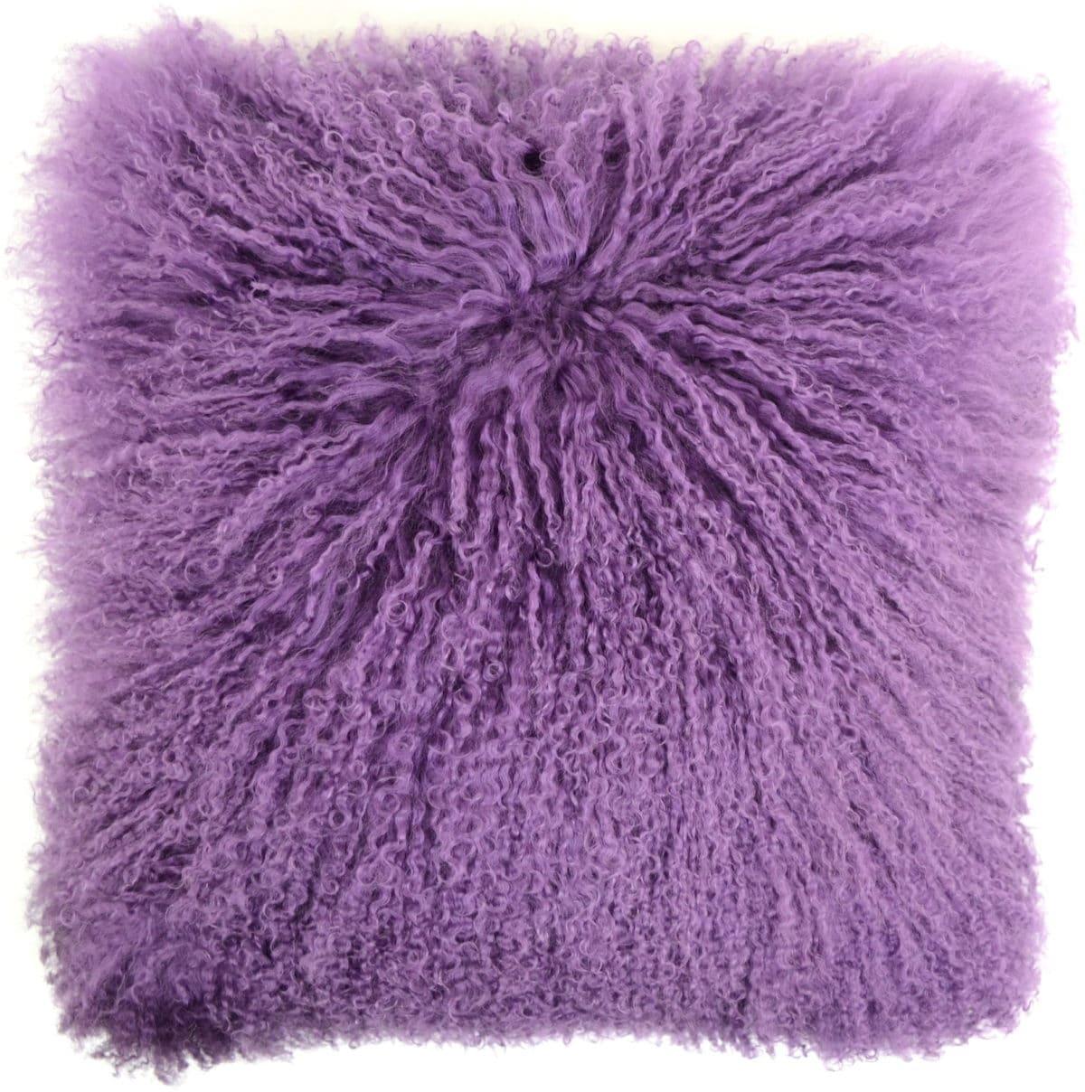 Mongolian Sheepskin Cushion 40cm X 40cm Purple Snugrugs