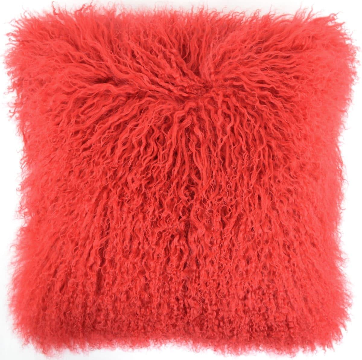 Snugrugs Mongolian Sheepskin Cushion 40cm x 40cm – Red