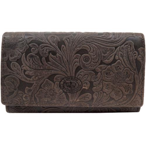 Genuine Leather Vintage Floral Purse / Money Holder