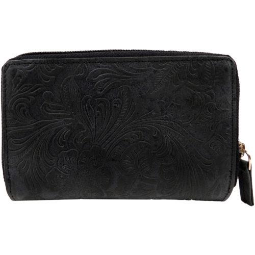 Large Genuine Leather Vintage Floral Purse / Money Holder