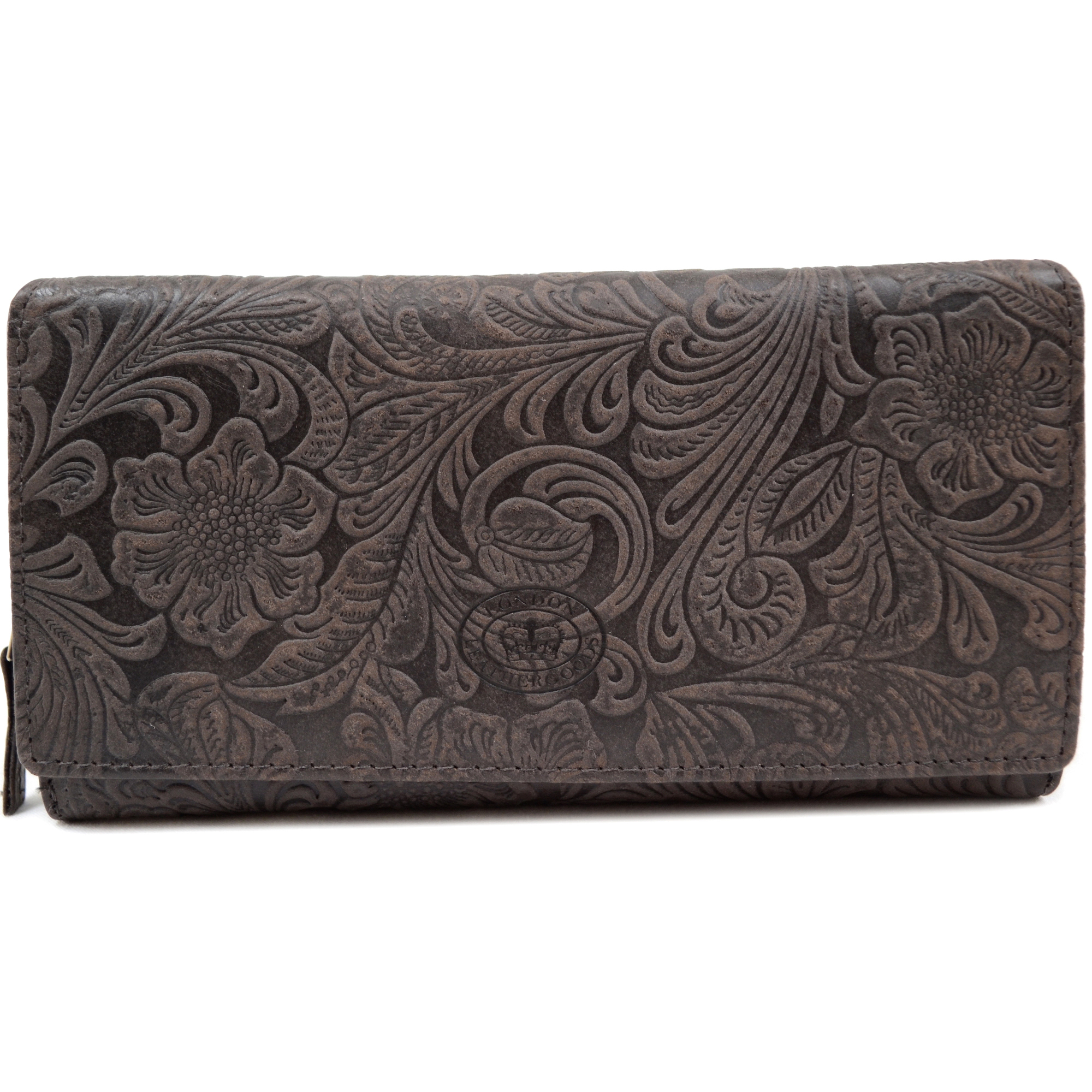 Large Genuine Leather Vintage Floral Purse / Clutch