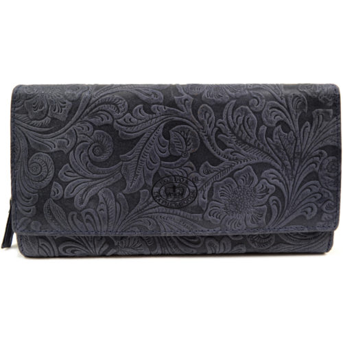 Large Genuine Leather Vintage Floral Purse / Clutch