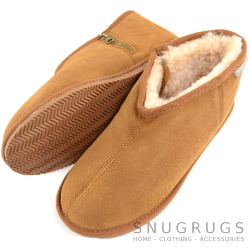 Benji - Sheepskin Zipper Slipper - Chestnut